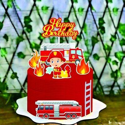 Happy Birthday Feuerwehr Mann Torten Stecker Set Topper Geburtstags Kuchen Deko