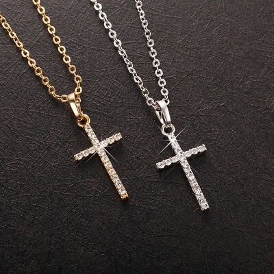 Women's Gold or White Gold Plated Small  CZ Crystal Cross Pendant Necklace N30