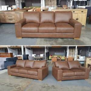 BRAND NEW LEATHER SOFAS - UP TO 80% OFF RRP Richmond Yarra Area Preview