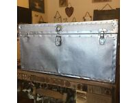 Large Metal And Silver Coated Chest/Trunk