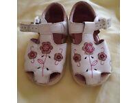 Girls clarks white sandals size 6.5