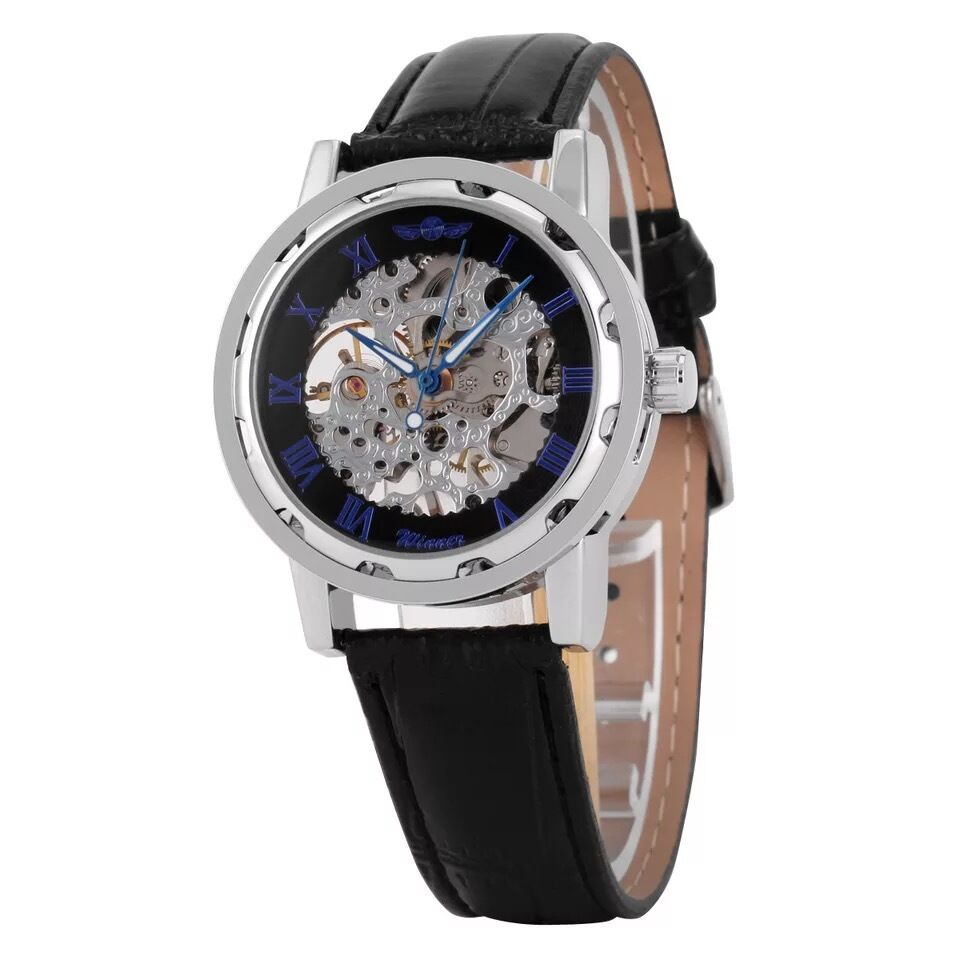 WINNER Fashion Mens Mechanical Leather Band Transparent Skeleton Wrist Watch