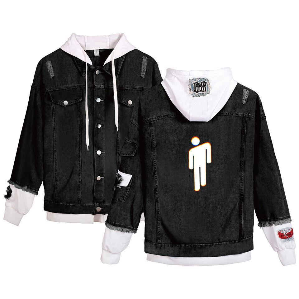Billie Eilish Damen Girl Hoodie Kapuzenpullover Denim Jacket Sweatshirt Coat Neu