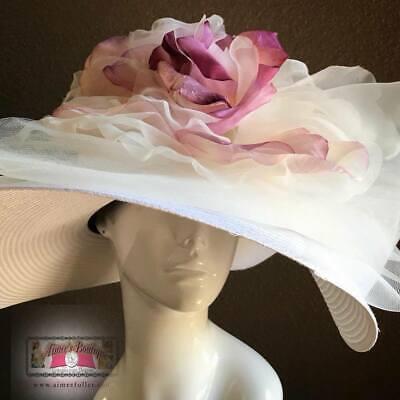 Kentucky Derby Apagado Blanco Rosa Malva Sombrero Gigante Del Mar Carreras Real