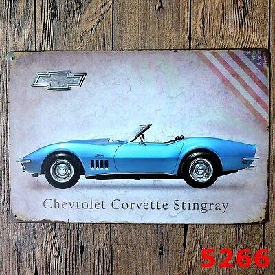 Metal Tin Sign chevrolet corvette Bar Pub Home Vintage Retro Poster Cafe ART
