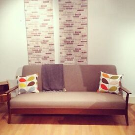 Mid Century Retro Wooden Framed Sofa Bed, Newly Upholstered, Very Comfy