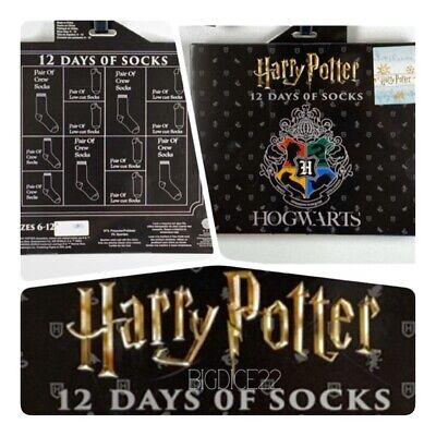 Harry Potter 12 Days of Socks Advent Calendar Men's 6-12 Hogwarts Crest NEW