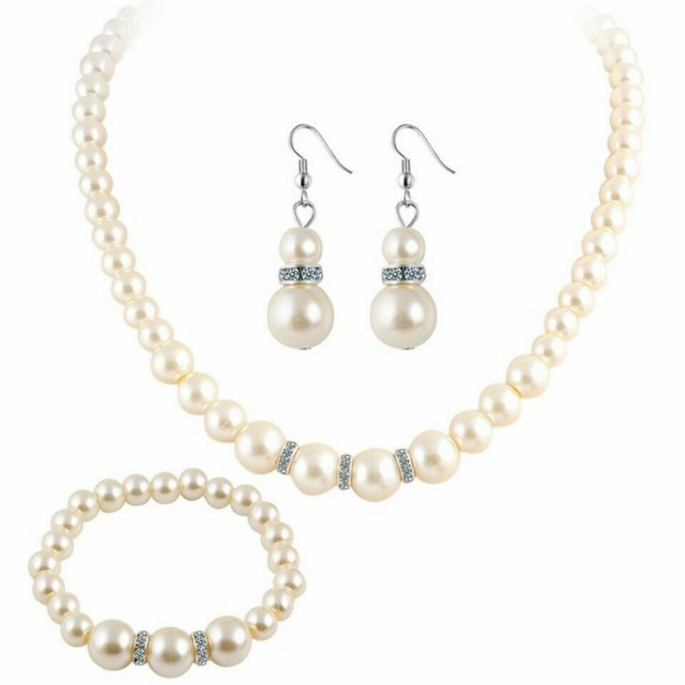 Jewellery - FAUX PEARL NECKLACE Christmas BRIDAL JEWELLERY EARRING BRACELET SET UK.