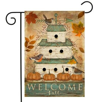 Welcome Fall Birdhouse Garden Flag