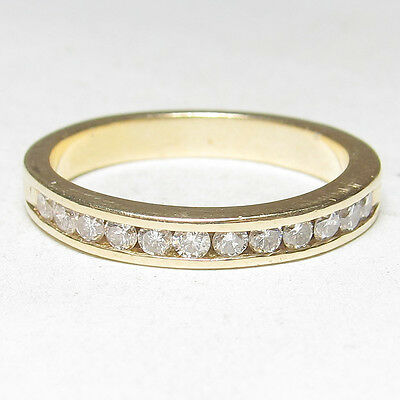 Estate 14K Yellow Gold 12 Round Brilliant Cut Diamond Band Style Ring 0.35 Cts