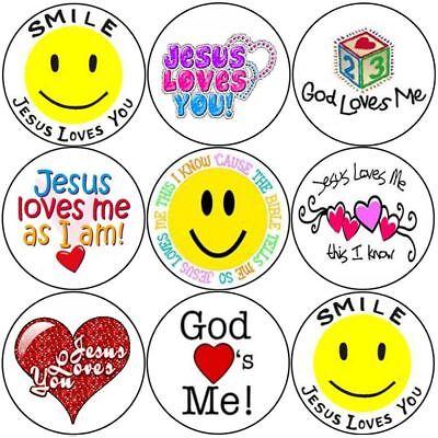144 Smile Jesus Loves You 30mm Children's Christian Reward Stickers, Church