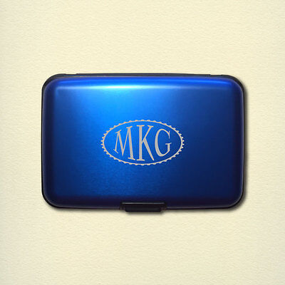 Personalized Monogram Aluminum Rfid Credit Card Wallet   Blue   Engraved In Usa