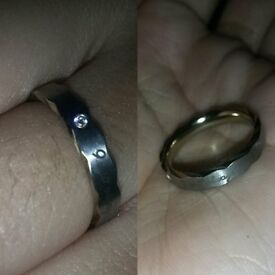 Steel Ring with tiny stone and engraving 'I will always be here for you'