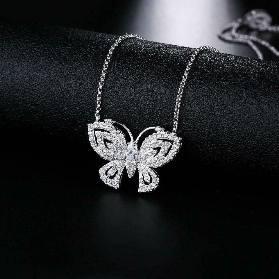 Jewellery - 18K White Gold Plated Adjustable Crystal Butterfly Necklace Made With Swarovski