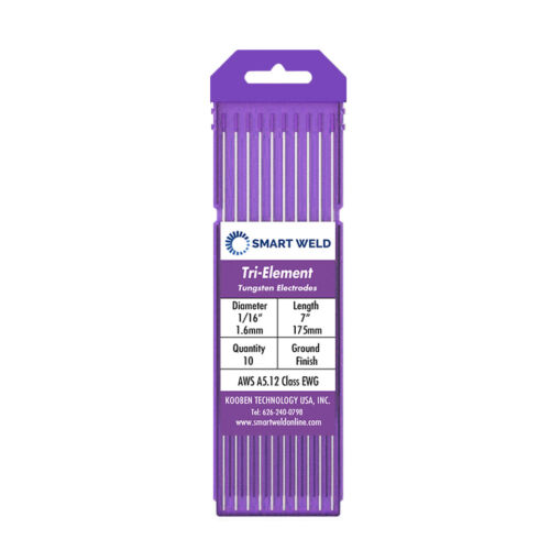 """Purple TIG Welding Tungsten Electrode 1/16"""" (10 pack, EWG, Comparable with E3)"""