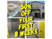 50% off your first 8 weeks! Prices start from £6.80 per week!! Atherton M46 Secure self storage