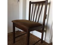 Four dining chairs. Dark brown. Cord velvet cushion. Very comfortable. Good condition