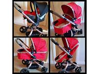 The Mothercare Orb Pram and Pushchair, maxi cosi car seat+adaptors