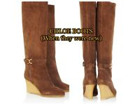 Chloé Suede Wedge Knee Boots in Brown size 40 RRP £880-Made in Italy