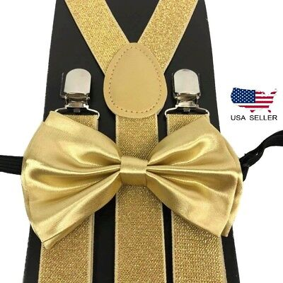 New Champagne Gold Suspender and Bowtie Tuxedo Dress Matching Color USA SELLER - Gold Suspenders And Bowtie