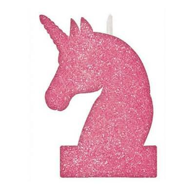 Unicorn Glitter Birthday Cake Topper Candle Party Supplies
