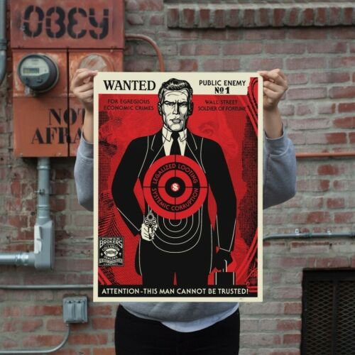 New Obey Wall Street Public Enemy S/N Shephard Fairey Signed Numbered Print - $899.99