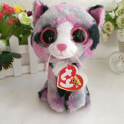 6  Ty Beanie Boos With Tag Gift Lindi Cat Glitter Eyes Plush Stuffed Toys