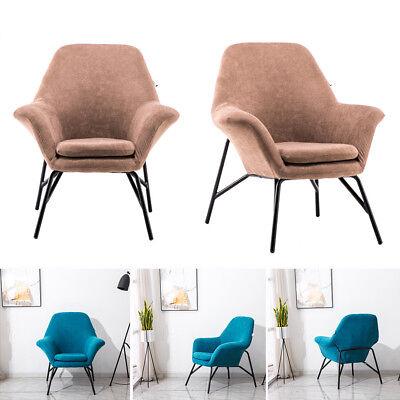 Stylish Nordic Armchair Retro Accent Plush Vintage Velvet Chair Lounge Metal Leg