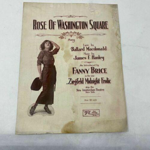 ROSE OF WASHINGTON SQUARE James Hanley 1920 vtg sheet music