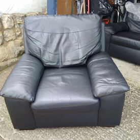 2x Black soft Leather Chairs / Armchairs