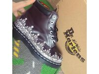 Womens Dr Martens Burgundy with Lace Effect Size 4
