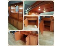 Solid mahogany wall unit with lights