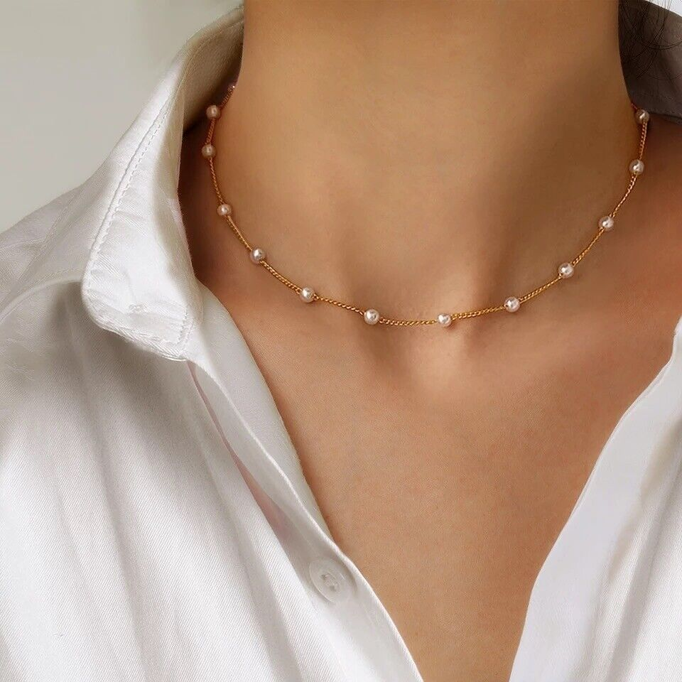 Jewellery - Pearl Necklace Choker Gold Plated Chain Beads Jewellery