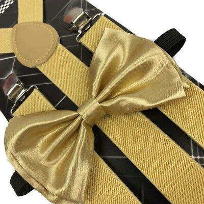 Champagne Gold Bow Tie & Matching Suspender Tuxedo Wedding Party Accessories (Gold Bow Tie)