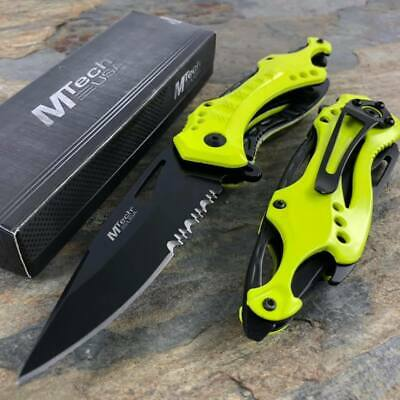M-Tech Spring Assisted Serrated Blade Neon Green Handle Tactical Pocket Knife!