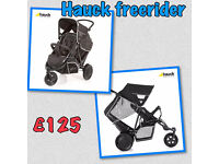 BRAND NEW HAUCK BLACK UNISEX FREERIDER TANDEM DOUBLE BUGGY PRAM PUSHCHAIR WITH RAIN COVER FROM BIRTH