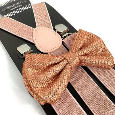 Rose Gold Glitter Suspender and Bow Tie Set Tuxedo Wedding Formal Accessory - Sparkle Suspenders