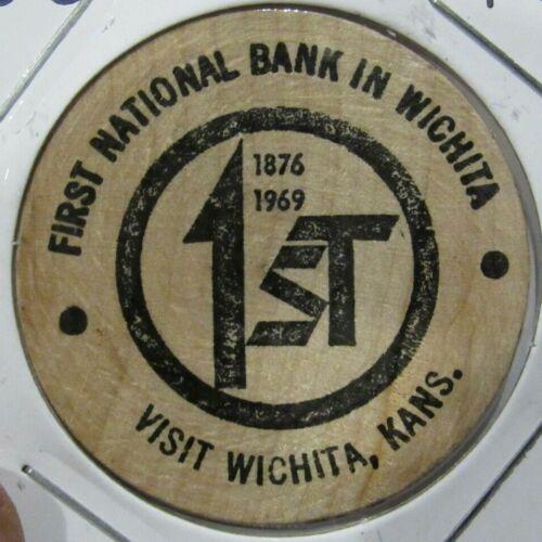 1969 First National Bank in Wichita, KS Wooden Nickel - Token Kansas Kans.