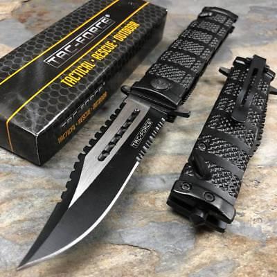 TAC FORCE Black Spring Assisted Open Sawback Bowie Tactical Pocket Knife! Black Tactical Pocket Knife