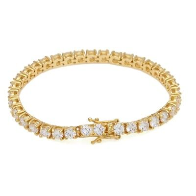 14k Yellow Gold Over Sterling Silver Round Diamond Box Clasp Tennis Bracelet