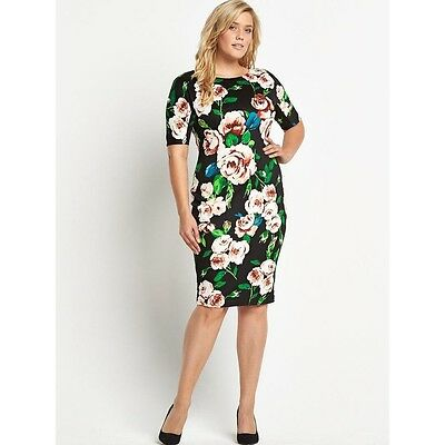 BNWT AX Paris Curve Floral Scuba Midi Evening Occasion Dress Size 22...