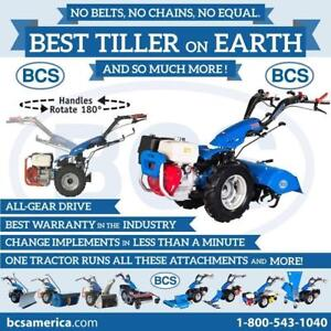 Blow, Plow, Till and Mow With One Unit. BCS Tractors are at CR Equipment!