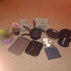 Pans, potts, flowers, kettle, cutlery etc FREE