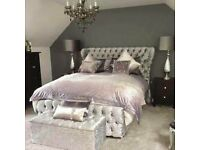 same/next day delivery! New Double or King Oxford Crushed Velvet Bed with Wing Back Bed and Mattress