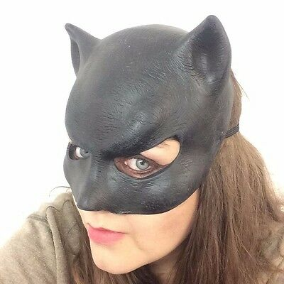 Catwoman Mask Halloween Costume (Ladies Black Catwoman Mask Halloween Fancy Dress Cat Panther Latex Costume)