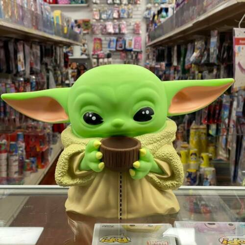 Monogram Baby Yoda THE CHILD with Cup Figural Busted Molded Coin Piggy Bank