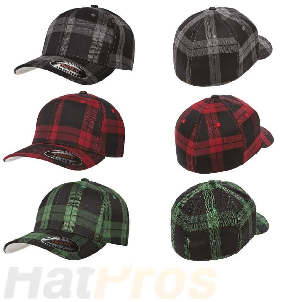 4fc17ad2c 6197 Flexfit Tartan Plaid Fitted Baseball Blank Plain Hat Ballcap Cap Flex  Fit