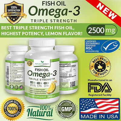 BEST TRIPLE STRENGTH OMEGA 3 FISH OIL PILLS 2500mg HIGHEST POTENCY LEMON FLAVOR!
