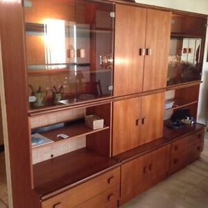 FREE, BEAUTIFUL, 9' WIDE TEAK WALL UNIT, TEAL COUCH AND CHAIR
