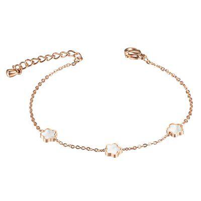 ZARD Delicate Clover Flower Rose Gold Mother of Pearl Charm Link Chain Bracelet Flowers Mother Of Pearl Bracelet